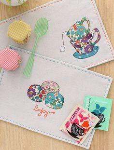 Minki S Work Table Sewing Illustration Mug Rug Patterns Freehand Machine Embroidery Sewing Crafts