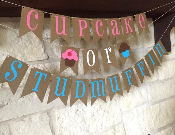 Cupcake Or Studmuffin Banner Gender Reveal Party Decor Christmas