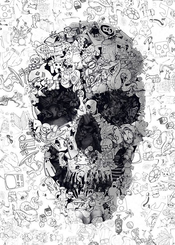 """""""Doodle Skull"""" Posters by Ali Gulec 