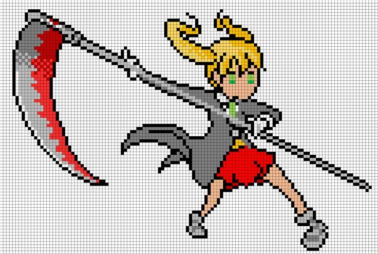 Soul Eater Pixel Art Templates Maka from soul eater | Bead Art ...
