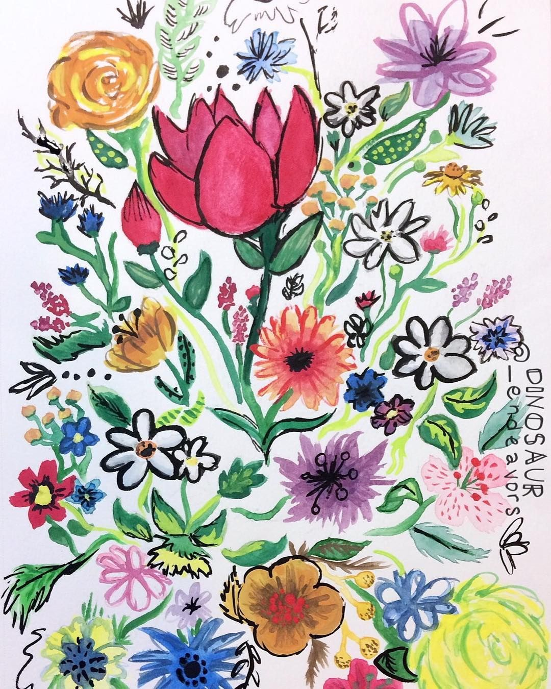 #art #artgallery #toagoodhome #doodle #flowers #ink #indiaink #color #watercolor #illustration #floral #🌸 #🌷 #💐 #🌺 #ObscureTheDinosaur #DinosaurEndeavors