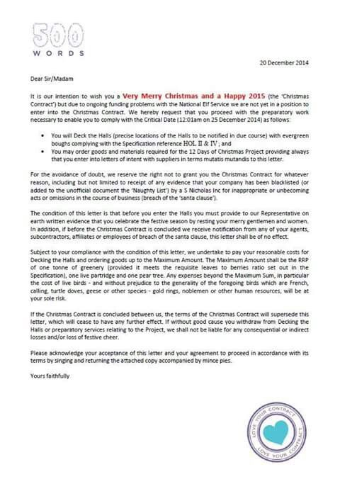 A Christmas Contract! 500-Word Contract Pinterest - letter of intent contract