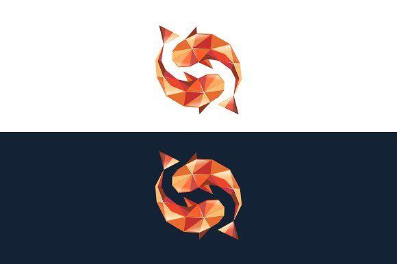 Koi Fish Logo Ying Yang By Digraphy On Creativemarket Koi Fish Drawing Fish Logo Fish Drawings