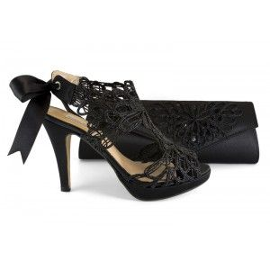 bolso con de negro 12590 013D Alarcon Angel fiesta zapato nxqH7HX