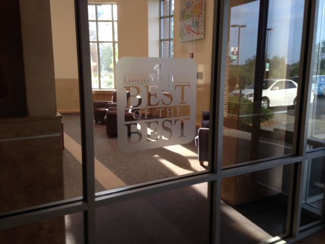 Etched glass vinyl graphics for Liberty Hospital  | Window