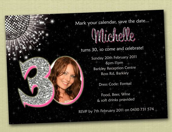 Personalised Bling Birthday Invitations 18th 21st By Deezeedesign 1500