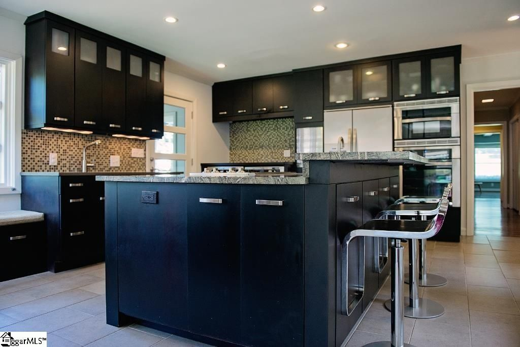 Modern Kitchen with IKEA Laxarby Glass Cabinet, Breakfast bar, High ...