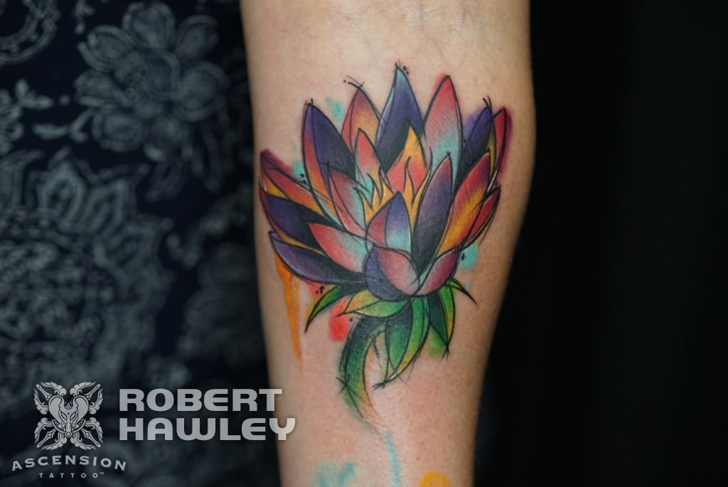 Sketchy Watercolor Flower Tattoo By Robert Hawley Orlando Fl