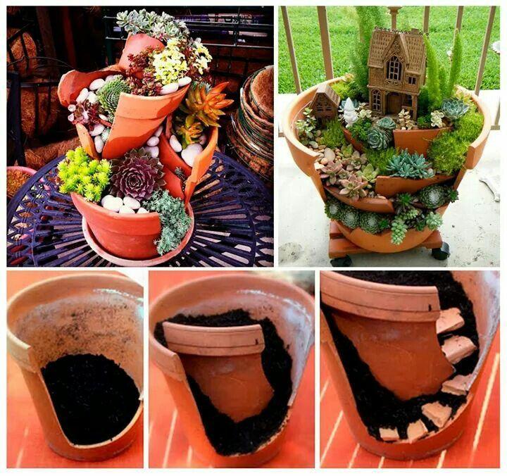 Jardines en macetas rotas buscar con google huertos for Jardines en macetas