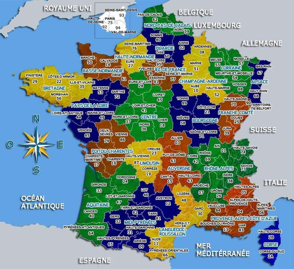 carte de france departements villes et regions | Géographie | Pinterest | France geography ...