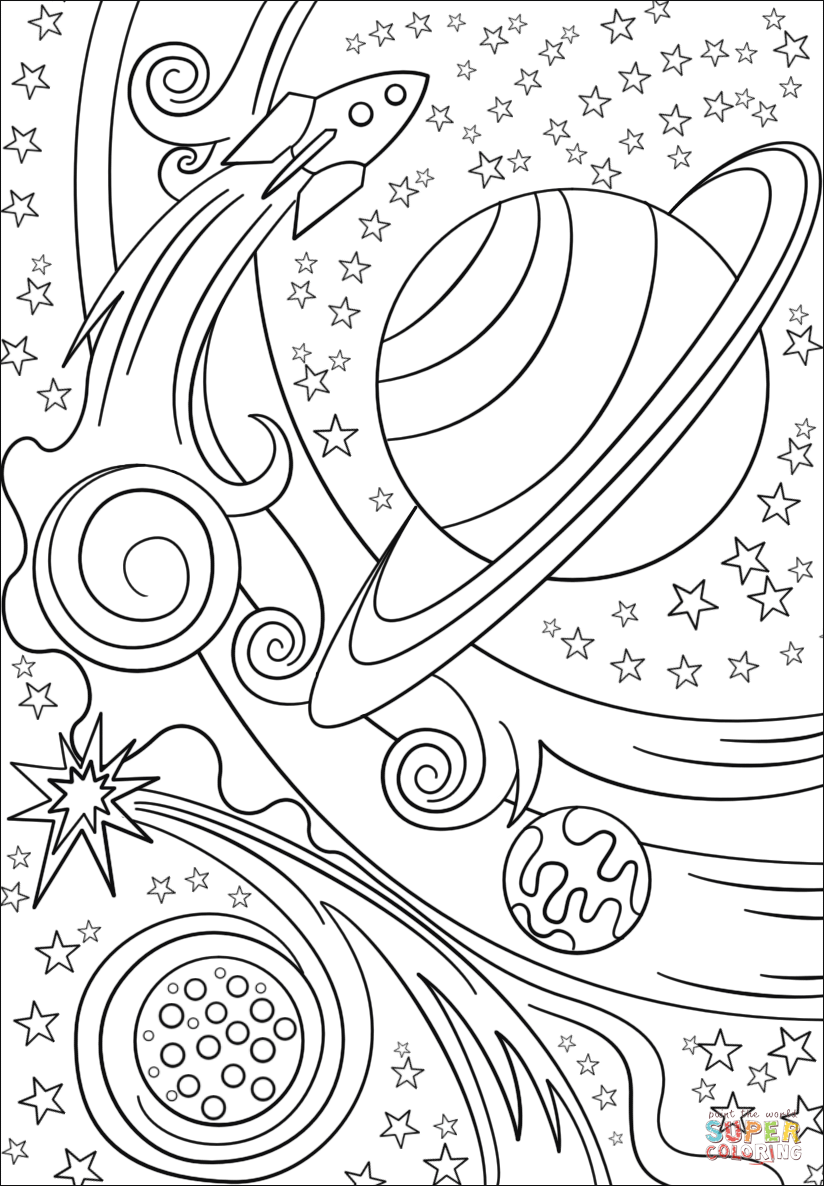 Trippy Space Rocket and coloring page Free