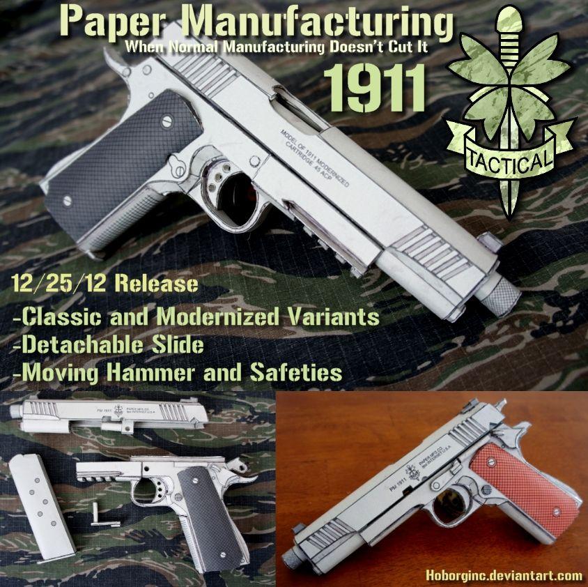 Pm 1911 Papercraft By Hoborginc Airsoft Guns Tactical Gear
