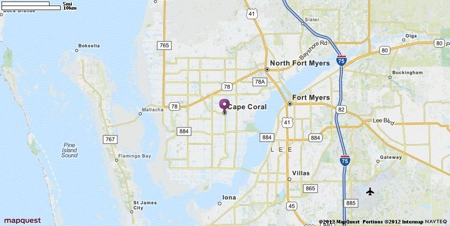 Cape Coral Florida Map.Cape Coral Fl Map Mapquest Favorite Places Spaces Pinterest