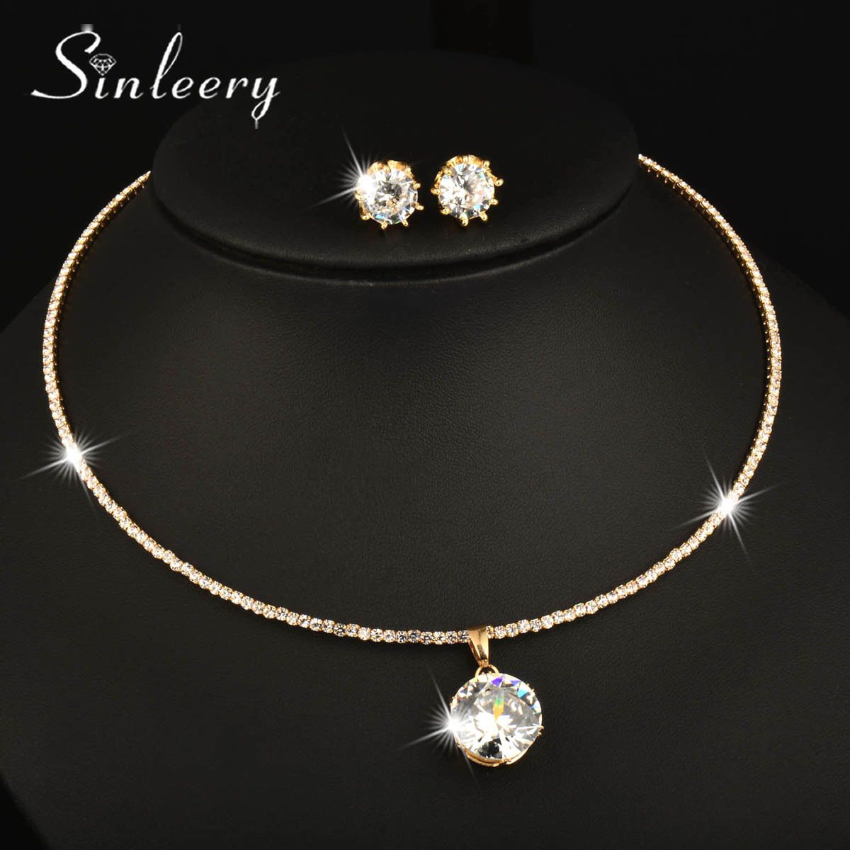 Women fashion round zircon choker collar necklace earrings set gold