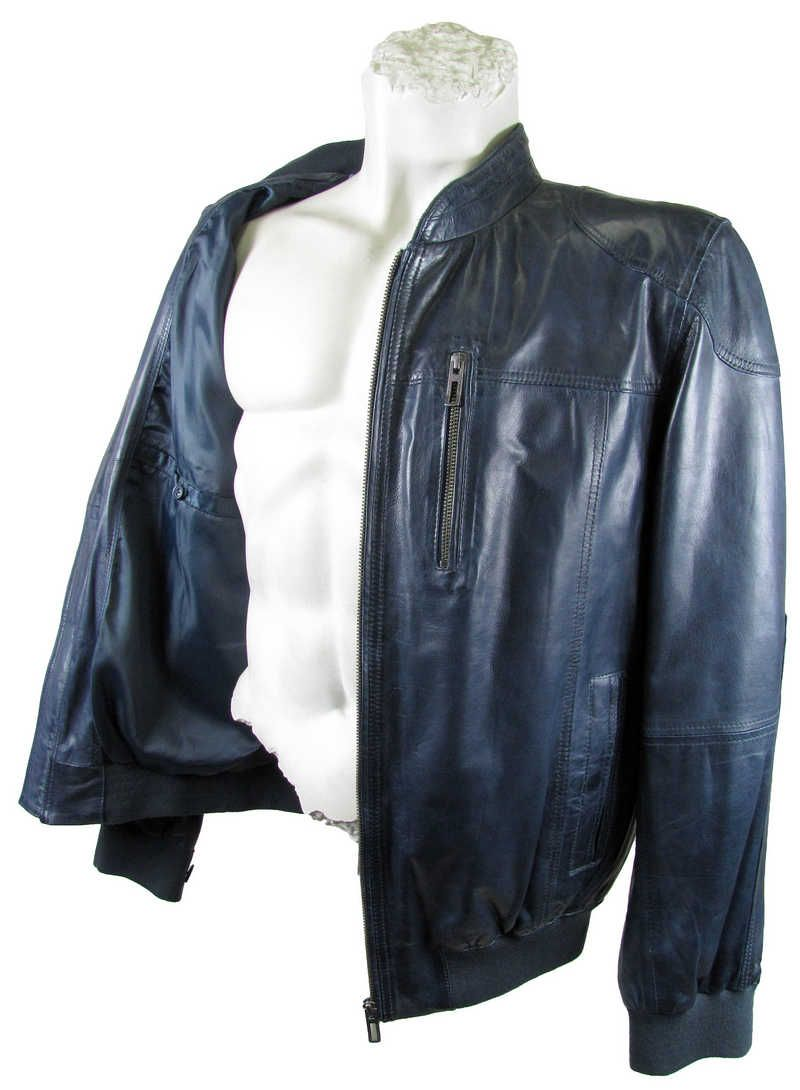 wholesale dealer 6d2e6 6c2a6 David Moore - Herren Lederjacke Lammnappa Blouson indigo ...