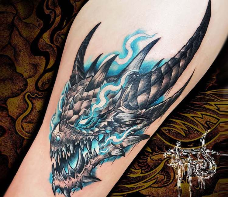 09442dcb9 Awesome 2 colors cartoon tattoo style of Ice Dragon from World of Warcraft,  done by tattoo artist Minh Luurangon | Post 24126 | World Tattoo Gallery -  Best ...