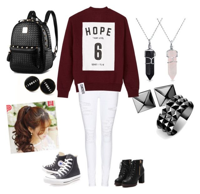 """""""Random day outfit. Suited for a comfy outing with friends"""" by lopezrosario74 on Polyvore featuring Waterford, Frame Denim, Studio Concrete, Converse, Bling Jewelry and Pin Show"""