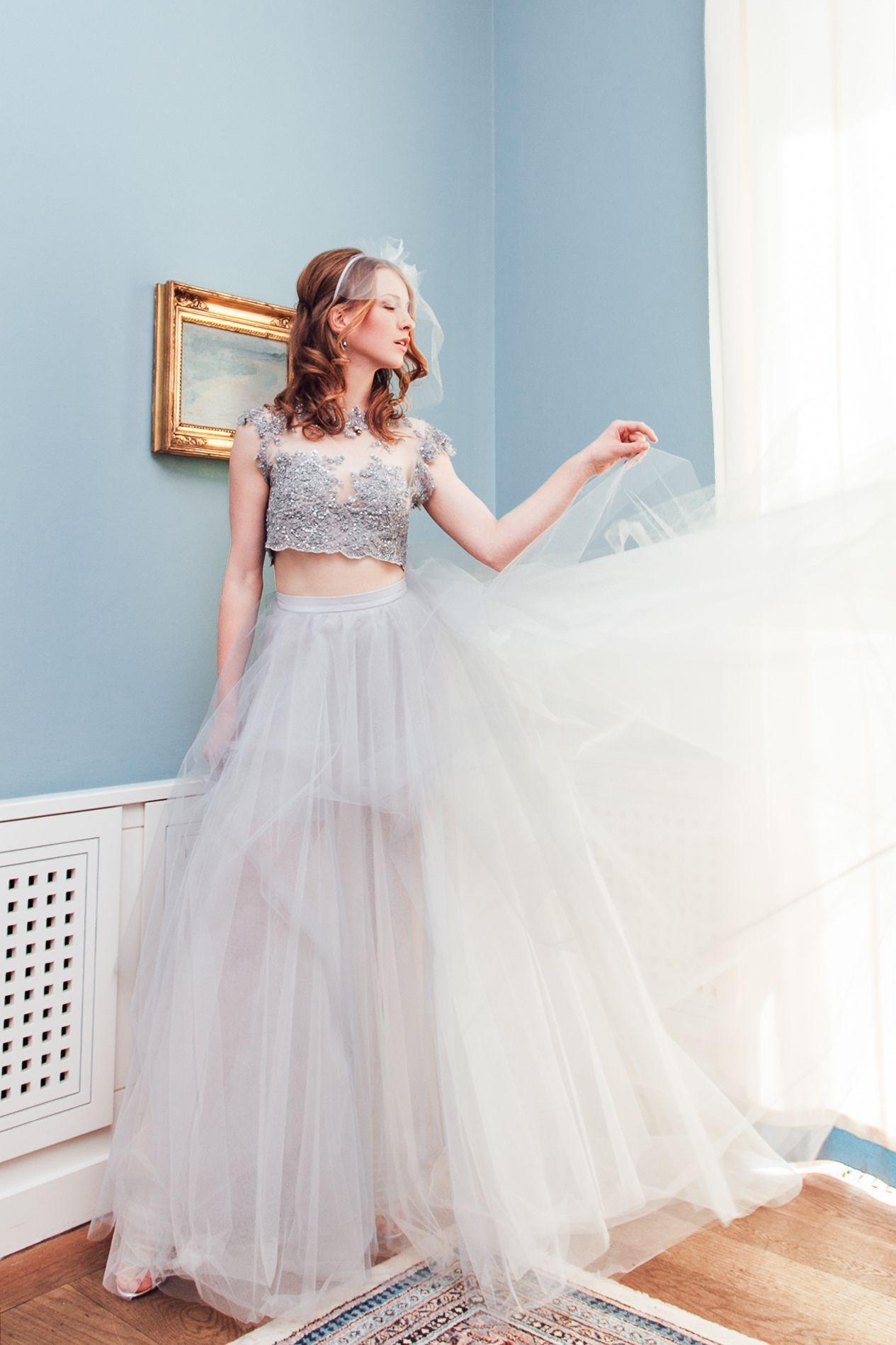 Dieses Brautkleid vereint gleich mehrere Trends: Es ist zweiteilig ...
