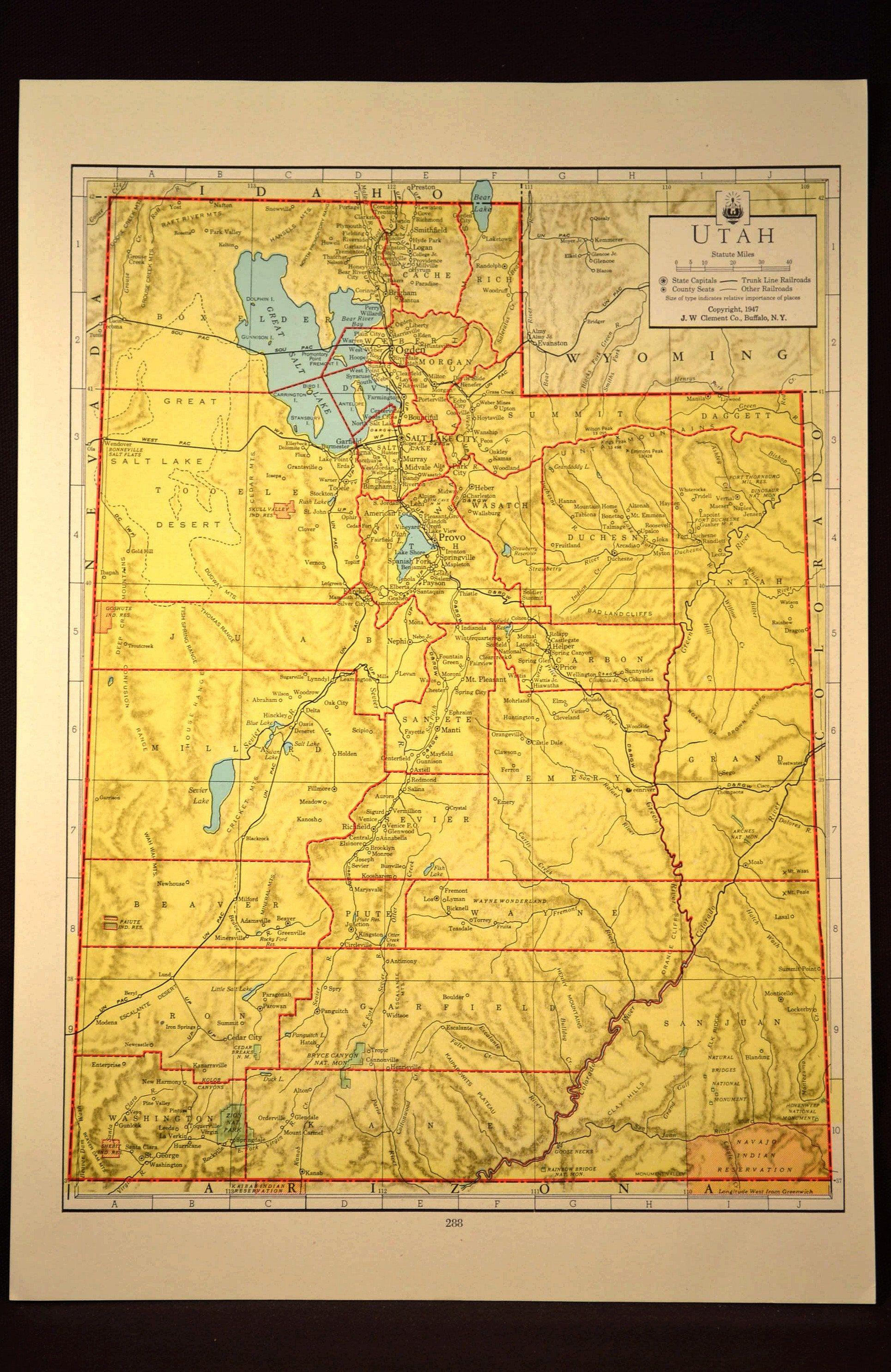 Colorful Yellow Vintage Utah Map Utah Colorful Wall Art   Map Wall ...