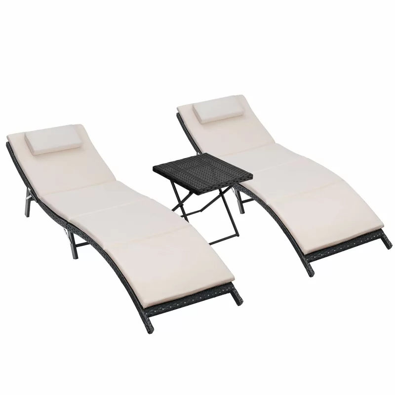 Gentilly Sun Chaise Lounge Set with Cushion and Table in