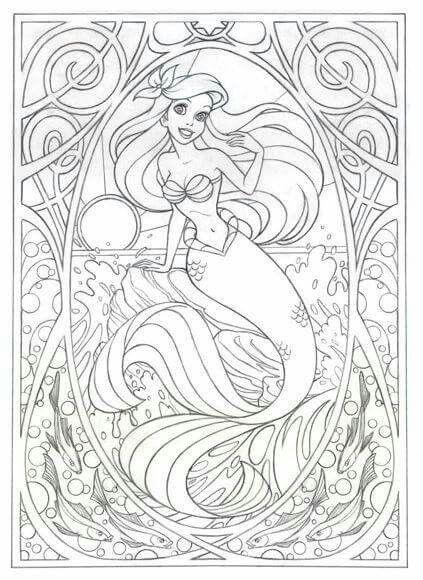 Ariel Mermaid Coloring Page Line Art Drawing B W Image Coloring