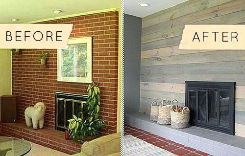 Covering brick fireplace with wood how to cover a tiled - How to cover brick fireplace ...