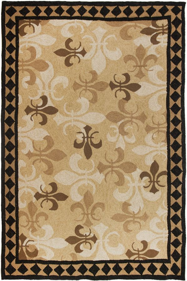 Fleur De Lis Brown Black By B J Lantz Indoor Outdoor Rug In Many