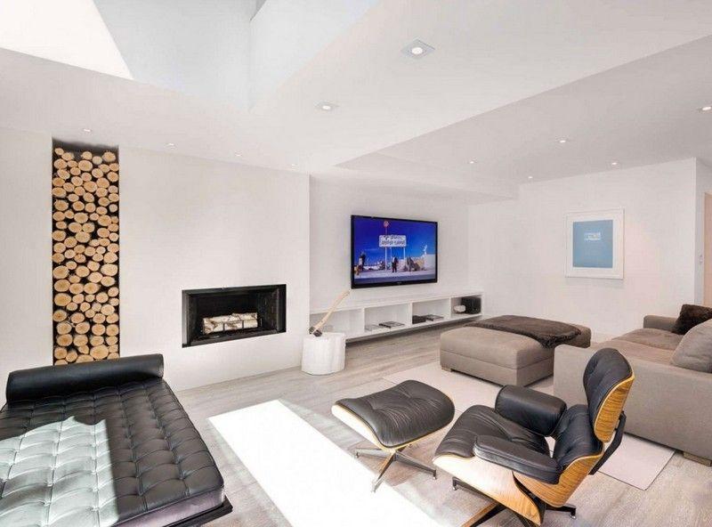 Brennholz-lagern-Kamin-Holzfach-Wohnzimmer-modern Haus Pinterest