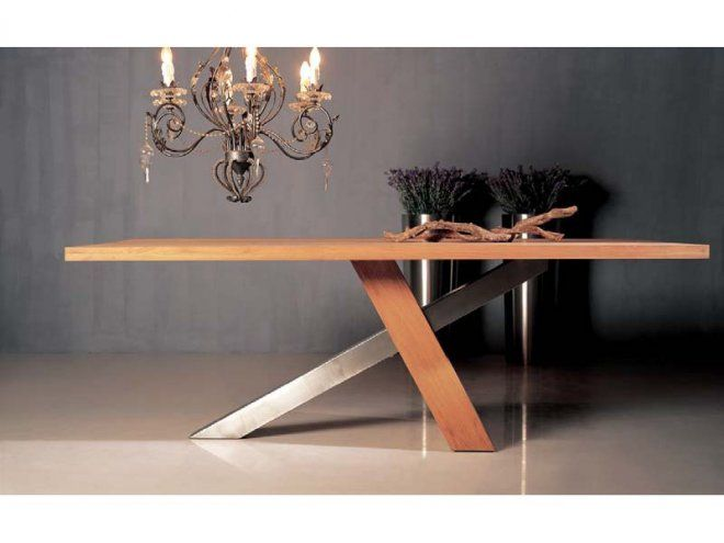 Table de repas design ch ne massif brut huil inox - Table design pied central ...