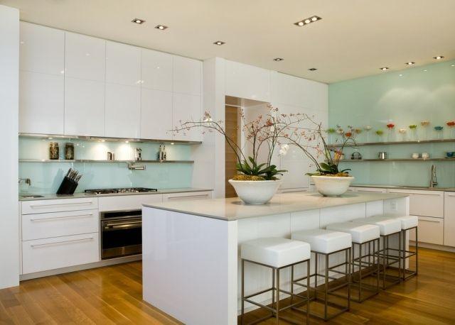 Moderne Küche Wandgestaltung Glas Spritzschutz Hell Mintgrün Pastellfarbe