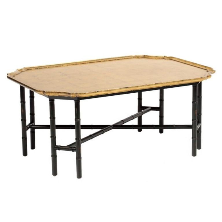 Bamboo Gold Table: Kittinger Coffee Table Gilded Gold Leaf Top Ebony Bamboo