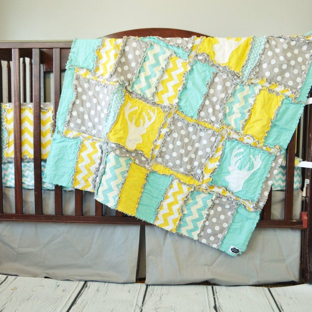 Gender Neutral Woodland Crib Bedding In Grey Yellow Aqua With