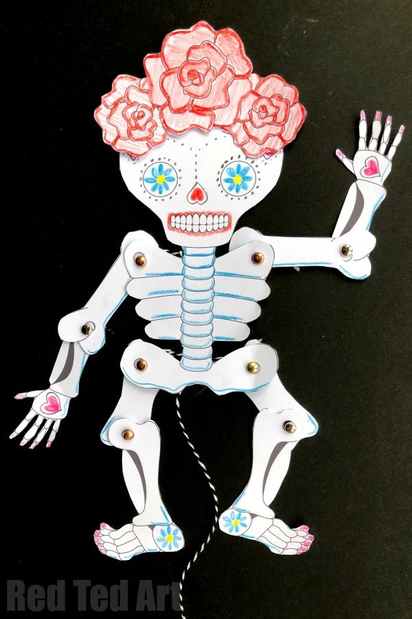 Day of the Dead Paper Puppet Template Paper puppets, Puppet and