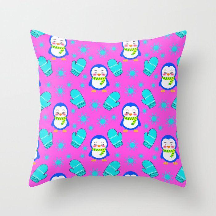 Cute happy little baby penguins, blue knitted mittens, frosty snowflakes winter cozy nursery pattern Throw Pillow by agnieszkazalewska