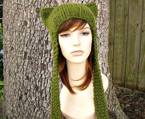 Olive Green Cat Ear Hat Womens Hat Green Ear Flap Cat Hat Green