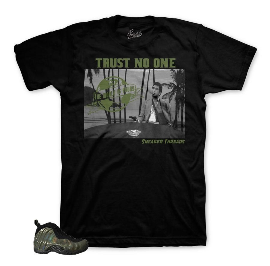 hot sale online b2e1a 78ffe Shirt to match you Foamposite legion green shoes. Sneaker Shirts is your  1  store for all your matching clothing for your foamposite one copper  metallic ...