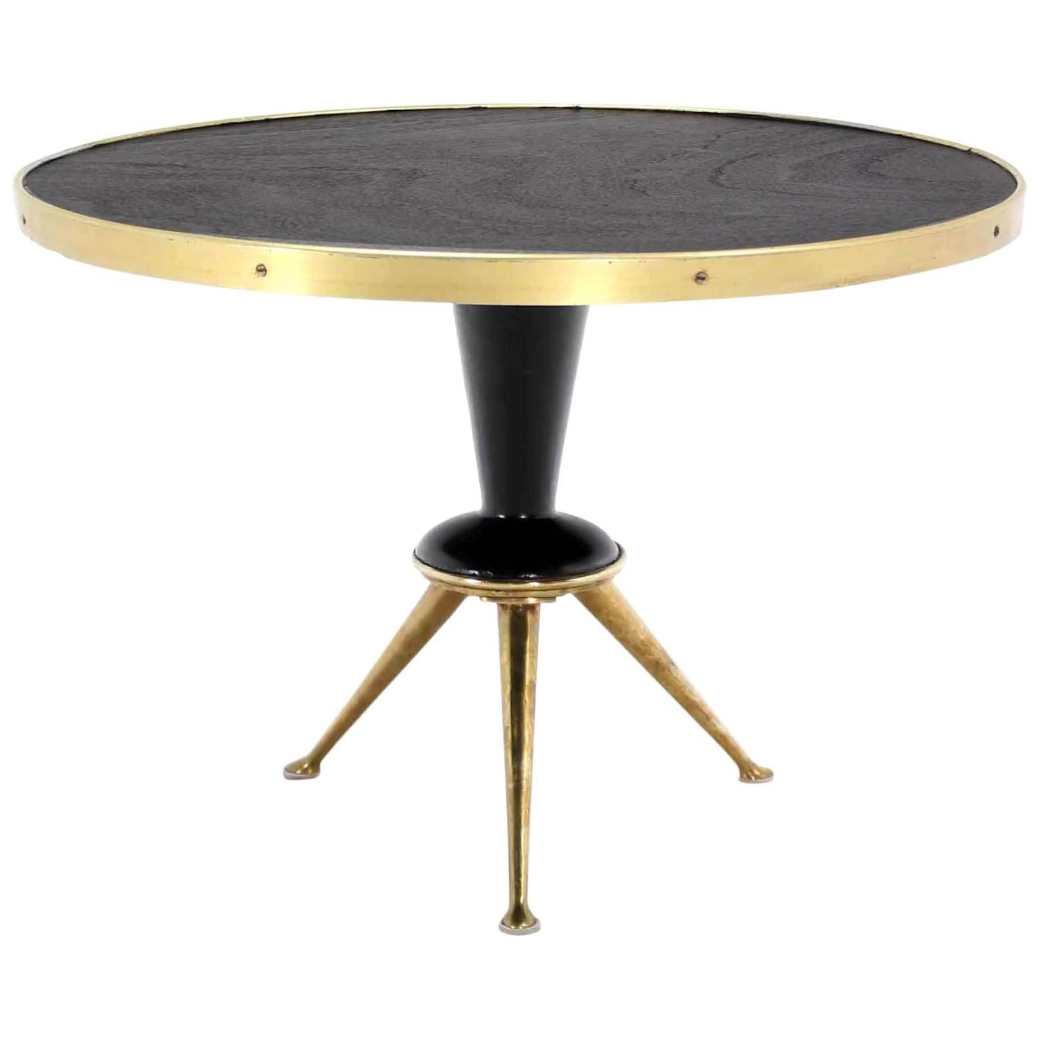 Brass Tripod Base Round Occasional Table From A Unique