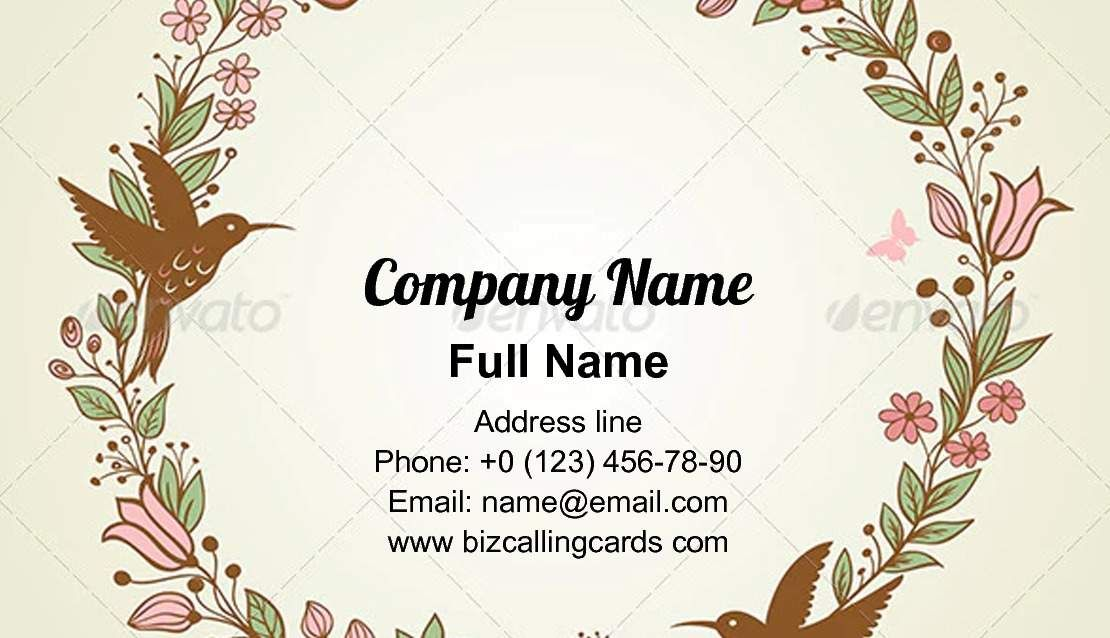 Create Online Floral Frame And Birds Business Card Template