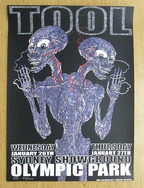 Original Silkscreen Concert Poster For Tool At The Sydney