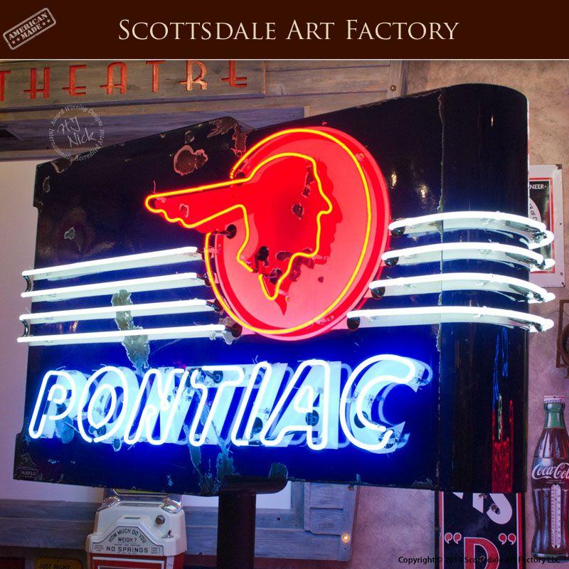 pontiac sign neon signs dealership retro lighted antique classic porcelain chief americana cave light cars gas enamel 50s 1930s headdress