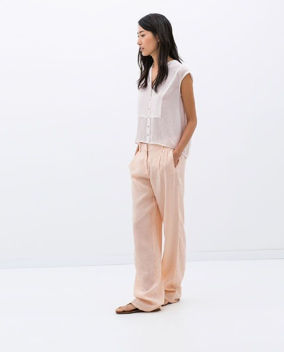 e92bce38 Image 1 of LINEN TROUSERS WITH FRONT PLEAT from Zara | Wish List ...