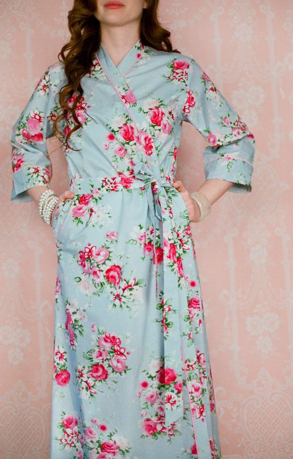7285cc94dc 2 CUSTOM full length lined cotton robes or womens by Singing Slowly. Long cotton  dressing gowns lined at the skirt   bodice.
