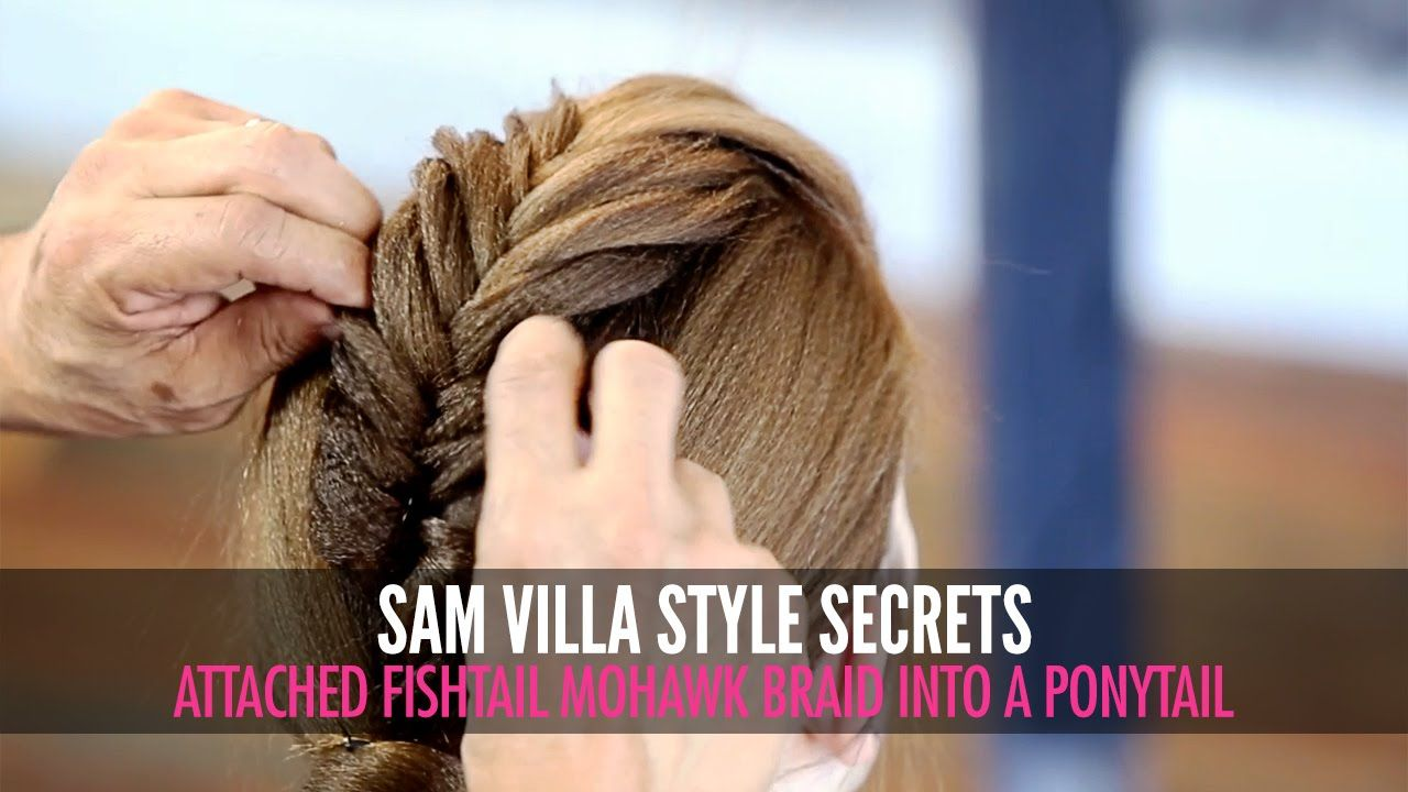 Attached fishtail mohawk braid into a ponytail hairstyle