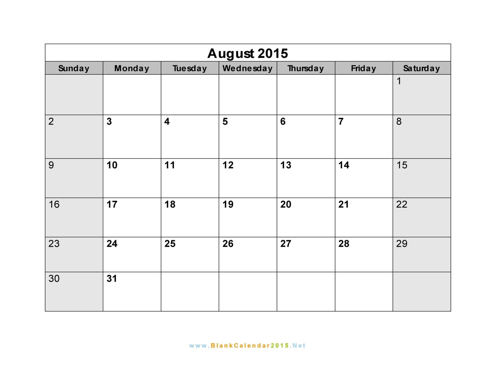 august 2015 calendar word