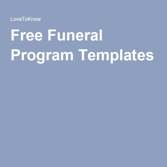 Free Funeral Program Templates In the Future Pinterest - free memorial program templates