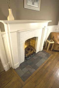 Once We Get Hardwood Floors Want Slate In Front Of Fireplace Puppies Need A Warm Cool Spot To Lay Fireplace Hearth Tiles Fireplace Hearth Craftsman Fireplace