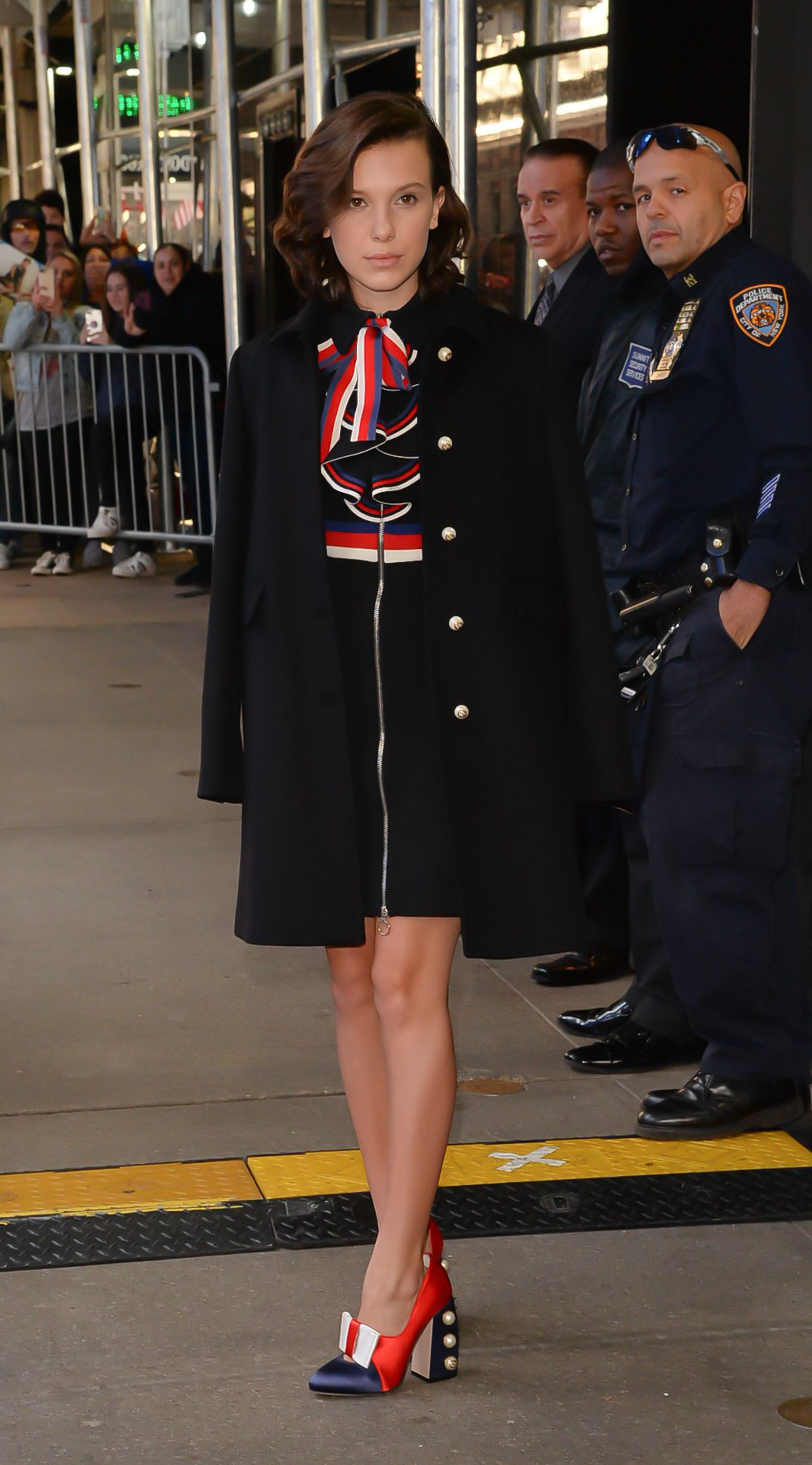9d56a541204 Millie Bobby Brown Dazzles in 2 Fashionable Outfits in New York City ...