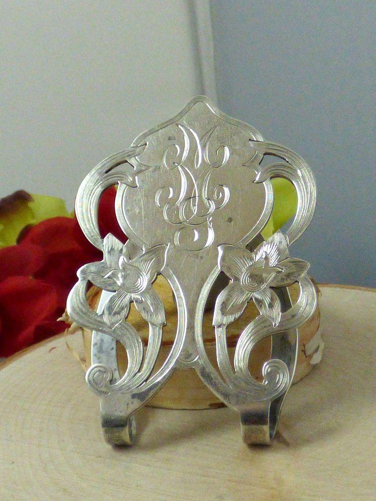 Vintage Gorham Sterling Silver Openwork Floral Napkin Clip; No. 1422B; c1912!! #Gorham