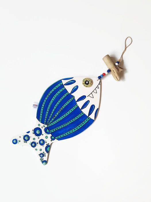 Ornamento Da Muro Mobile Pesci In Legno Acquario Dipinti A Mano Complemento D Arredo Folk