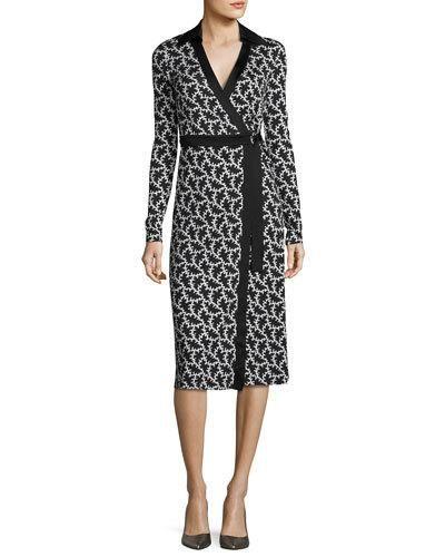 TRQ89 Diane von Furstenberg Printed D-Ring Belted Silk Wrap Dress, Black